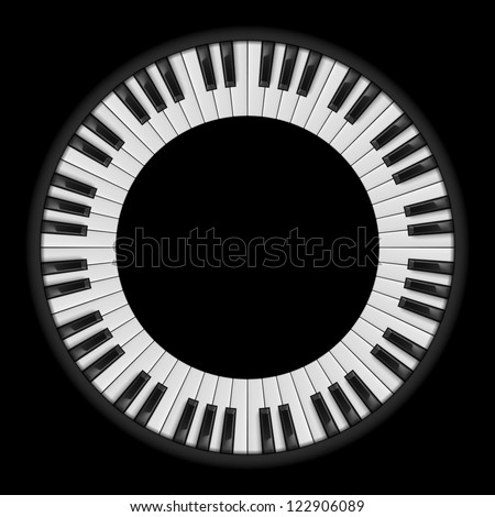 Raster version. Piano keys. Circular illustration, for creative design on black - stock photo