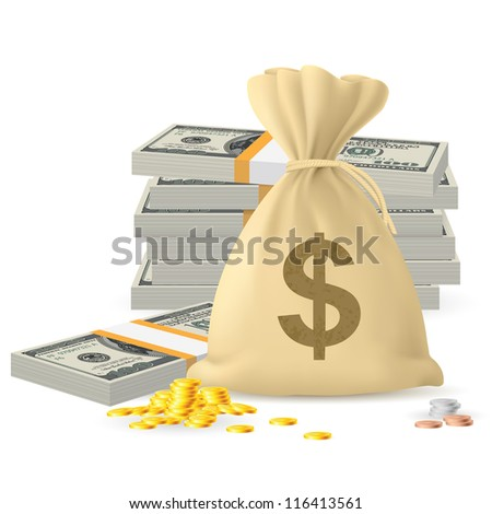 Raster version. Piles of money in the form of Cash and Gold coins, with Money sack
