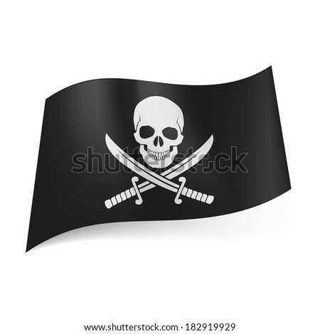 Raster version. Pirate flag of skull with crossed sabers on black background - stock photo
