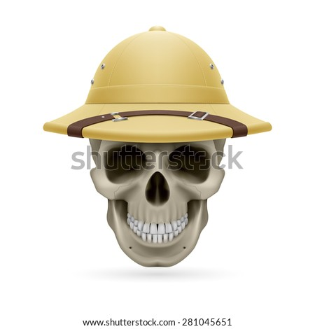 Raster version. Pith helmet on skull isolated on white background  - stock photo