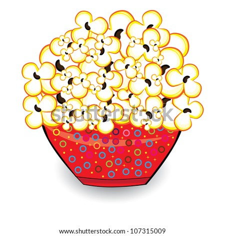 Raster version. Popcorn in a red bucket. Illustrations on white background for design - stock photo