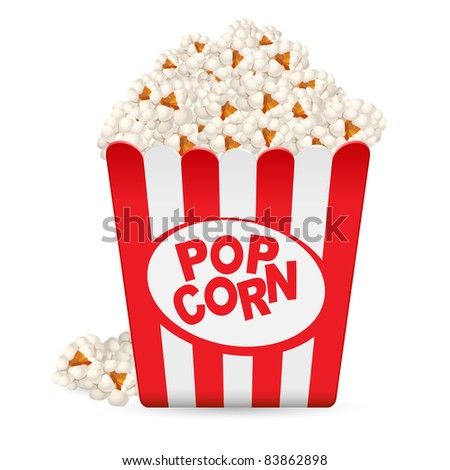 Raster version. Popcorn in a striped tub. Illustration on white background - stock photo