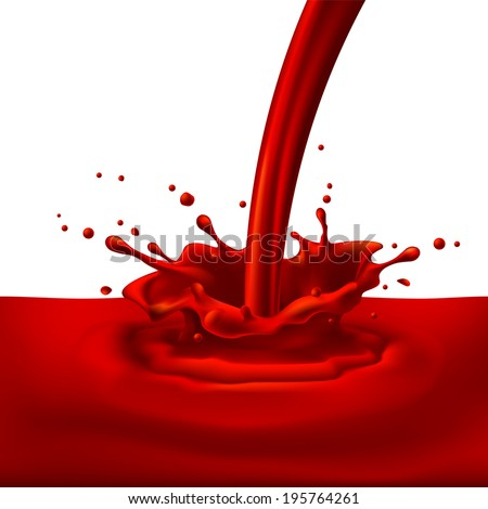 Raster version. Pouring of red paint with splashes. Bright illustration on white background