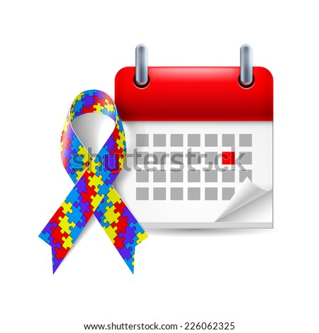 Raster version. Puzzle awareness ribbon and calendar with marked day. Autism symbol  - stock photo