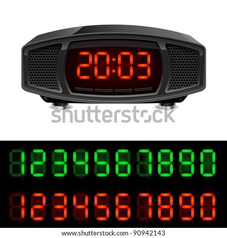 Raster version. Radio alarm clock. Illustration isolated on white background. - stock photo