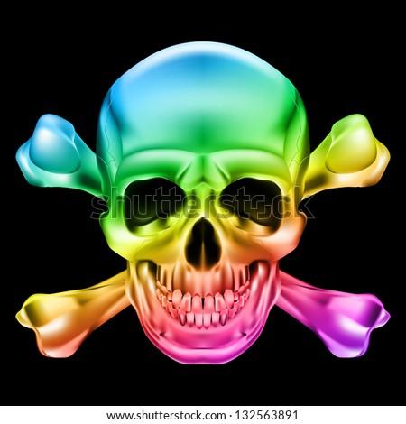 Raster version. Rainbow Skull and Crossbones. Illustration on black background - stock photo