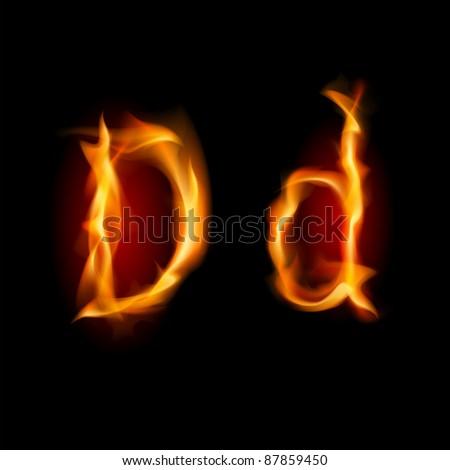 Raster version. Raster version. Fiery font. Letter D. Illustration on black background - stock photo