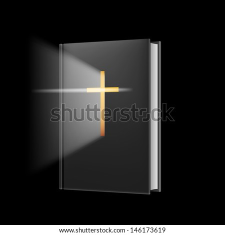 Raster version. Realistic bible. Illustration on black background for design. - stock photo