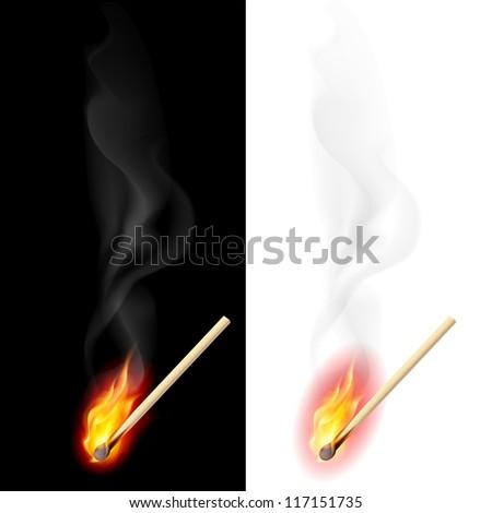 Raster version. Realistic burning match. Illustration on white and black background - stock photo