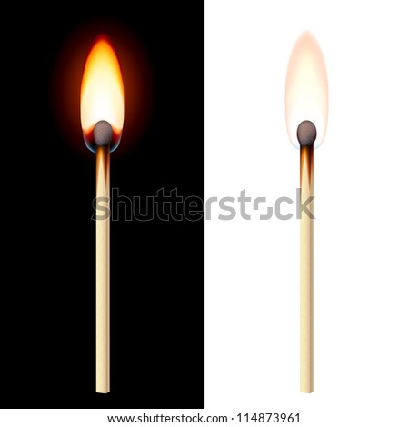 Raster version. Realistic burning match on white and black background. - stock photo