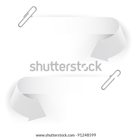 Raster version. Realistic Clips and Arrows. Illustration on white background. - stock photo