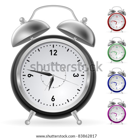 Raster version. Realistic colorful clock. Illustration for design on white background