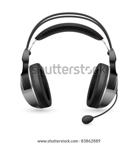 Raster version. Realistic computer headset with microphone. Illustration on white background