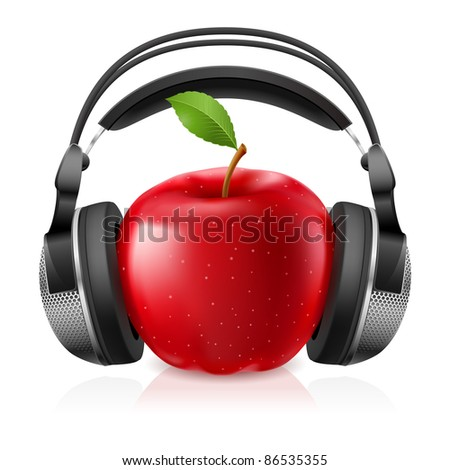 Raster version. Realistic computer headset with red apple. Illustration on white background - stock photo