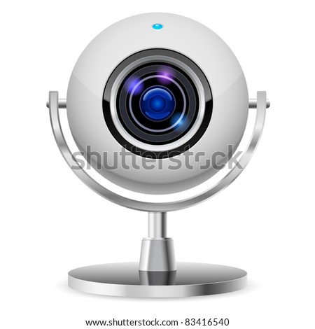 Raster version. Realistic computer web cam. Illustration on white background - stock photo