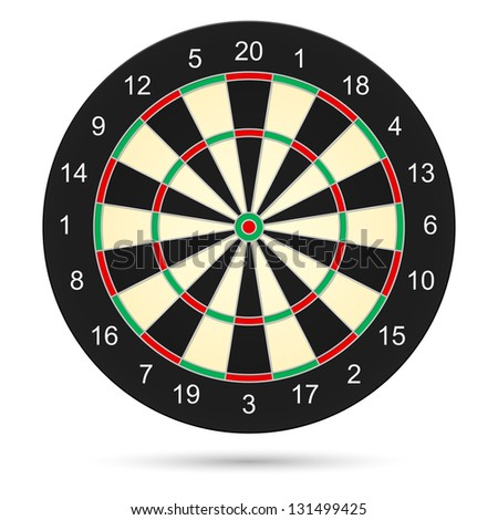 Raster version. Realistic dartboard. Illustration on white background for creative design - stock photo