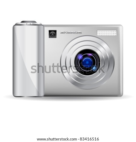 Raster version. Realistic digital camera.  Illustration on white background - stock photo