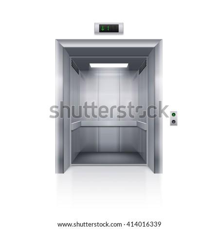 Raster version. Realistic Empty Modern Elevator on White Background - stock photo