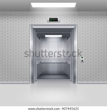 Raster version. Realistic Empty Modern Elevator with Open Door in a Brick Wall