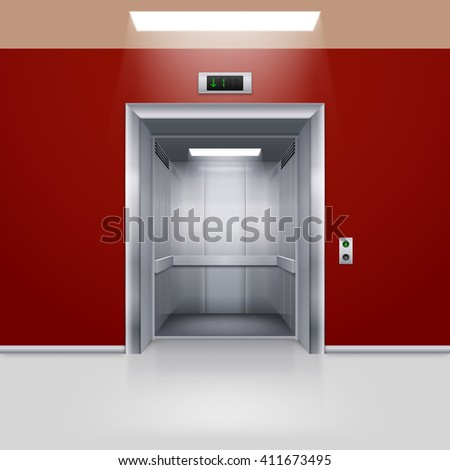 Raster version. Realistic Empty Modern Elevator with Open Door in Red Hall