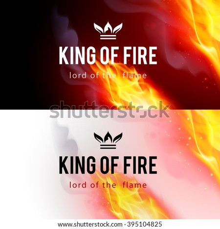 Raster version. Realistic Fire Flames Effect on Black and White Backgrounds - stock photo