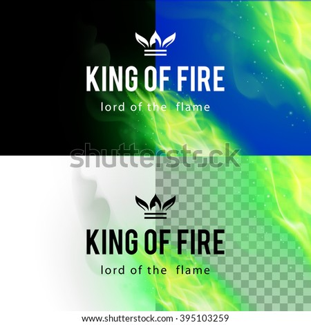 Raster version. Realistic Green Fire Flames Effect on Differents Backgrounds