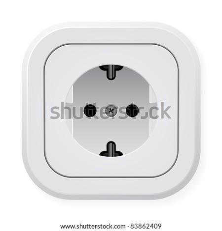 Raster version. Realistic illustration power outlet.  illustration on white background - stock photo