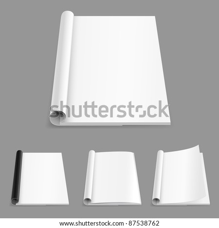 Raster version. Realistic magazine set number five. Illustration on white background for design. - stock photo