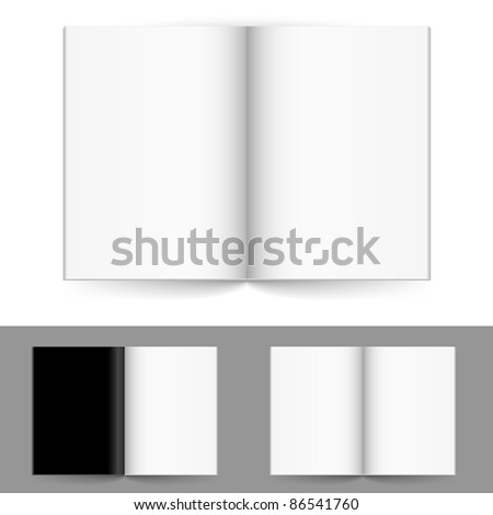 Raster version. Realistic magazine set number four. Illustration on white background for design. - stock photo
