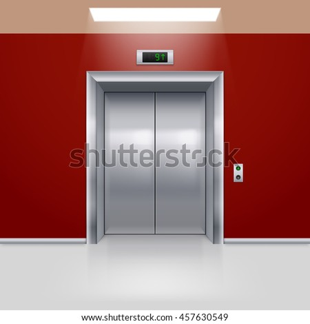Raster version. Realistic Metal Modern Elevator with Closed Door in Red Hall - stock photo