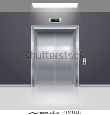 Raster version. Realistic Metal Modern Elevator with Closed Door on Floor
