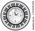 Raster version. Realistic Office Clock and Piano keys. Illustration on white background. - stock photo