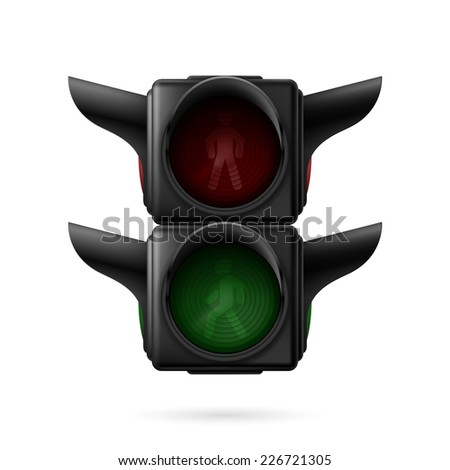 Raster version. Realistic pedestrian traffic lights off. Illustration on white background