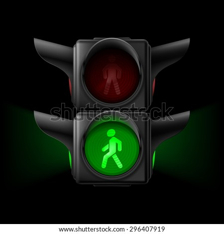 Raster version. Realistic pedestrian traffic lights with green lamp on. Illustration on black background - stock photo