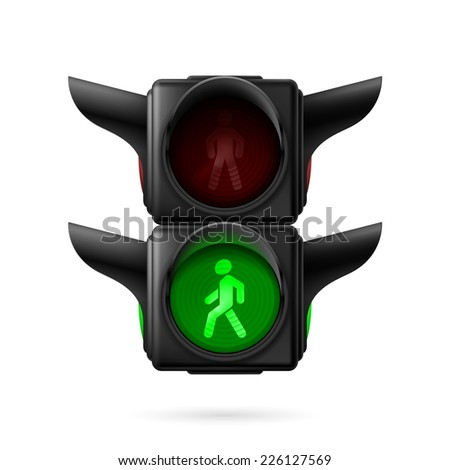 Raster version. Realistic pedestrian traffic lights with green light on. Illustration on white background