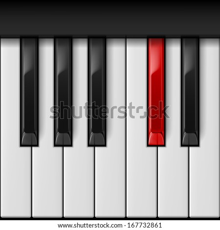 Raster version.  Realistic piano keys with especial red one.   - stock photo