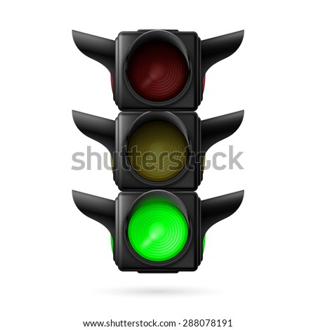 Raster version. Realistic traffic lights with green lamp on. Illustration on white  - stock photo