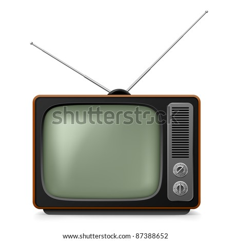 Raster version. Realistic vintage TV. Illustration on white background for design - stock photo