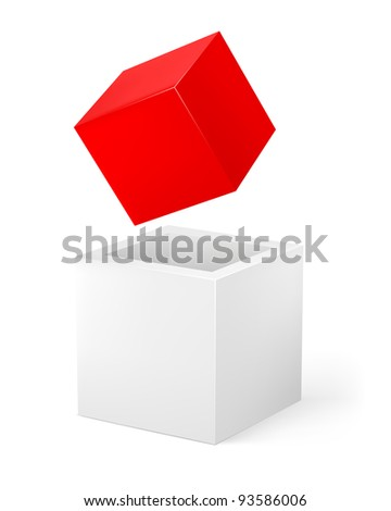 Raster version. Red and white cube. Illustration of the designer on a white background