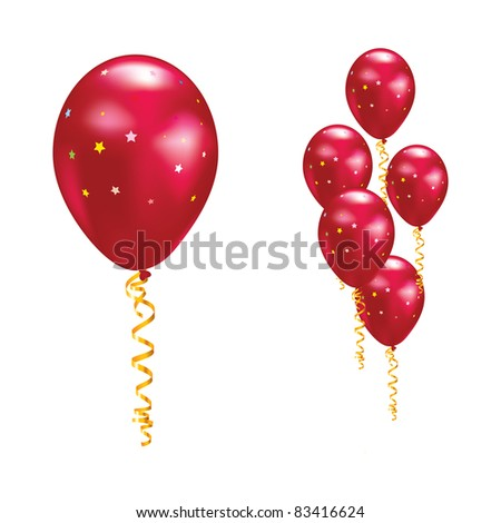 Raster version. Red balloons with stars and ribbons.  illustration.