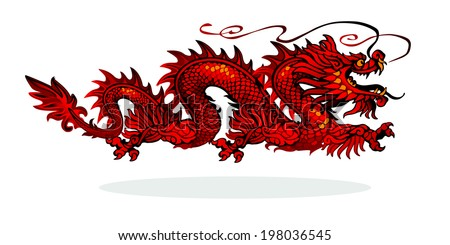Raster version /Red Chinese dragon on a white background - stock photo