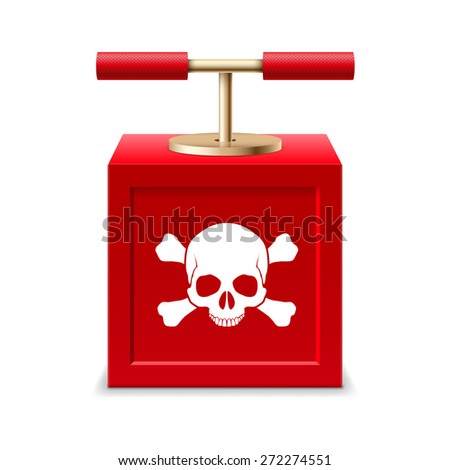 Raster version. Red detonating fuse with a skull and crossbones  - stock photo