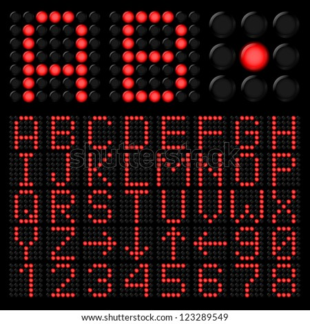 Raster version. Red digital alphabetic and numeric characters on black