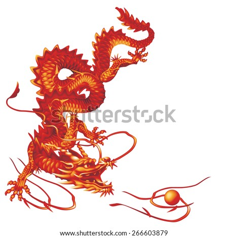 Raster version / Red Dragon running vertically down on a white background - stock photo