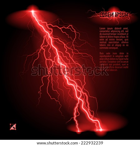 Raster version. Red oblique branchy lightning line. Illustration with space for text  - stock photo