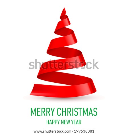 Raster version. Red ribbon Christmas tree on white background.  Greeting card. - stock photo