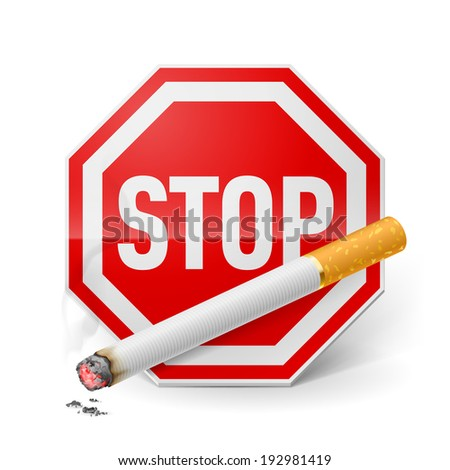 Raster version. Red stop sign with cigarette as appeal of give up smoking  - stock photo