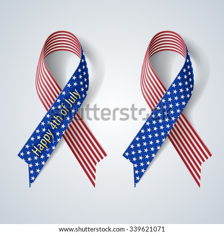 Raster version. Ribbon isolate on gray Fourth of july Independence day - stock photo