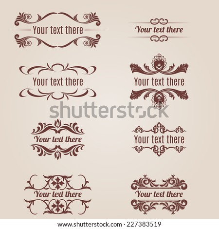 Raster version. Richly decorated set with inscriptions on a beige background  - stock photo
