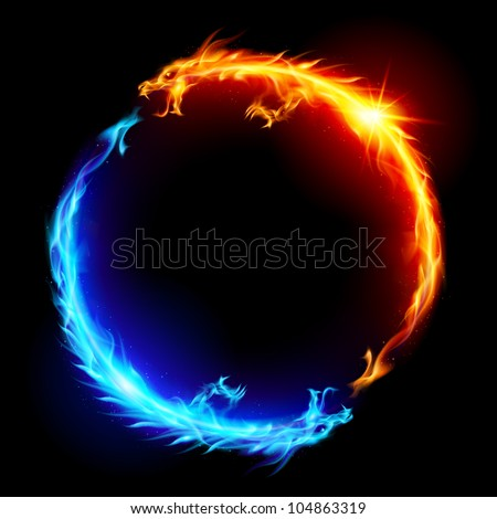 Raster version. Ring of Blue and Red Fiery Dragons. - stock photo